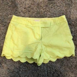 J. Crew green scallop shorts